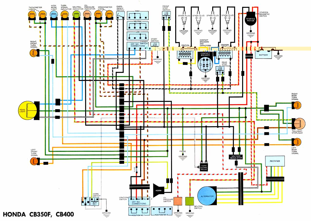 Honda CB400F Electrical wiring diagram motorcycle wiring diagrams honda cb550 wiring diagram at n-0.co