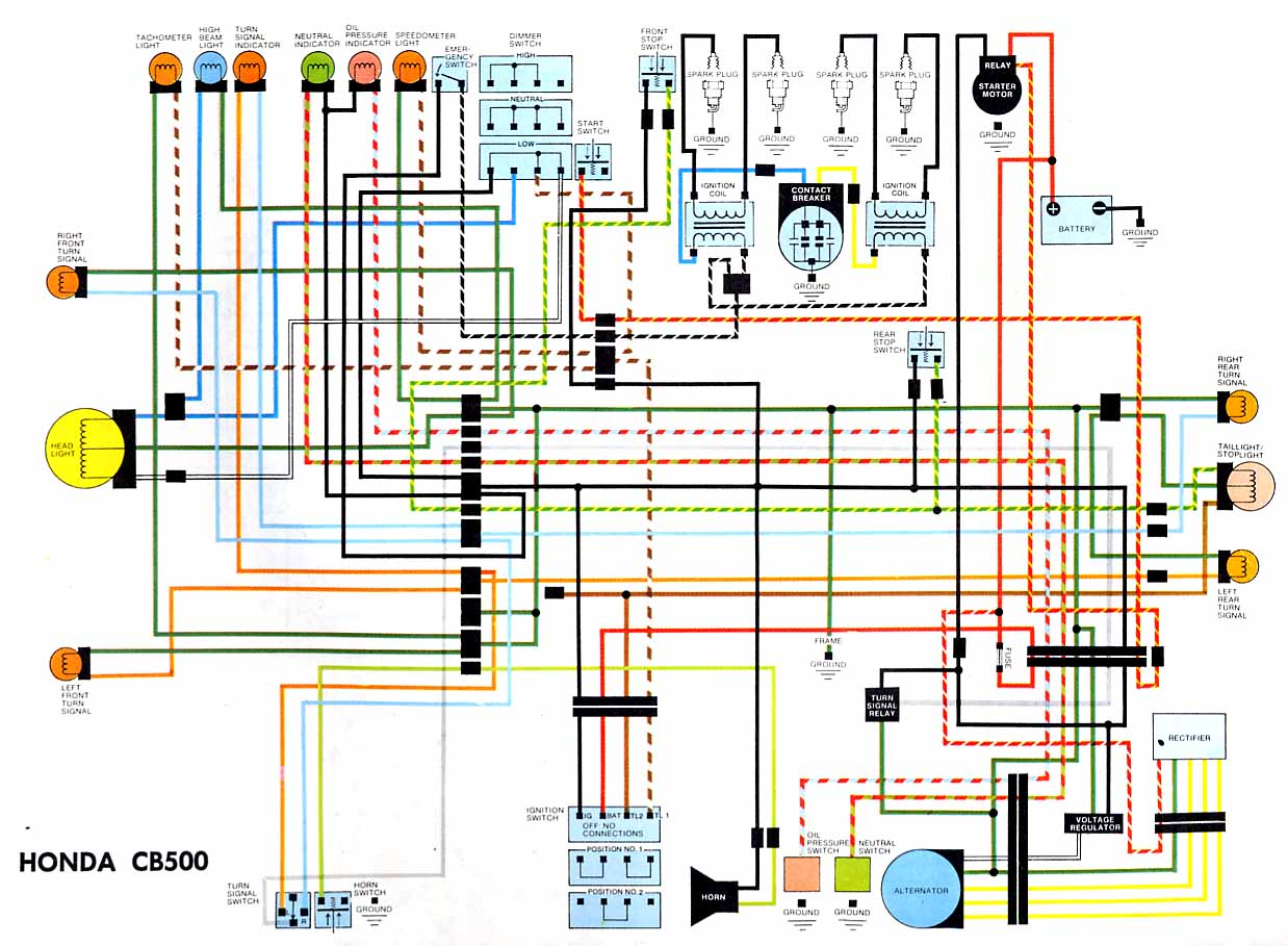 Honda CB500 Electrical wiring diagram motorcycle wiring diagrams honda wiring diagram at gsmx.co