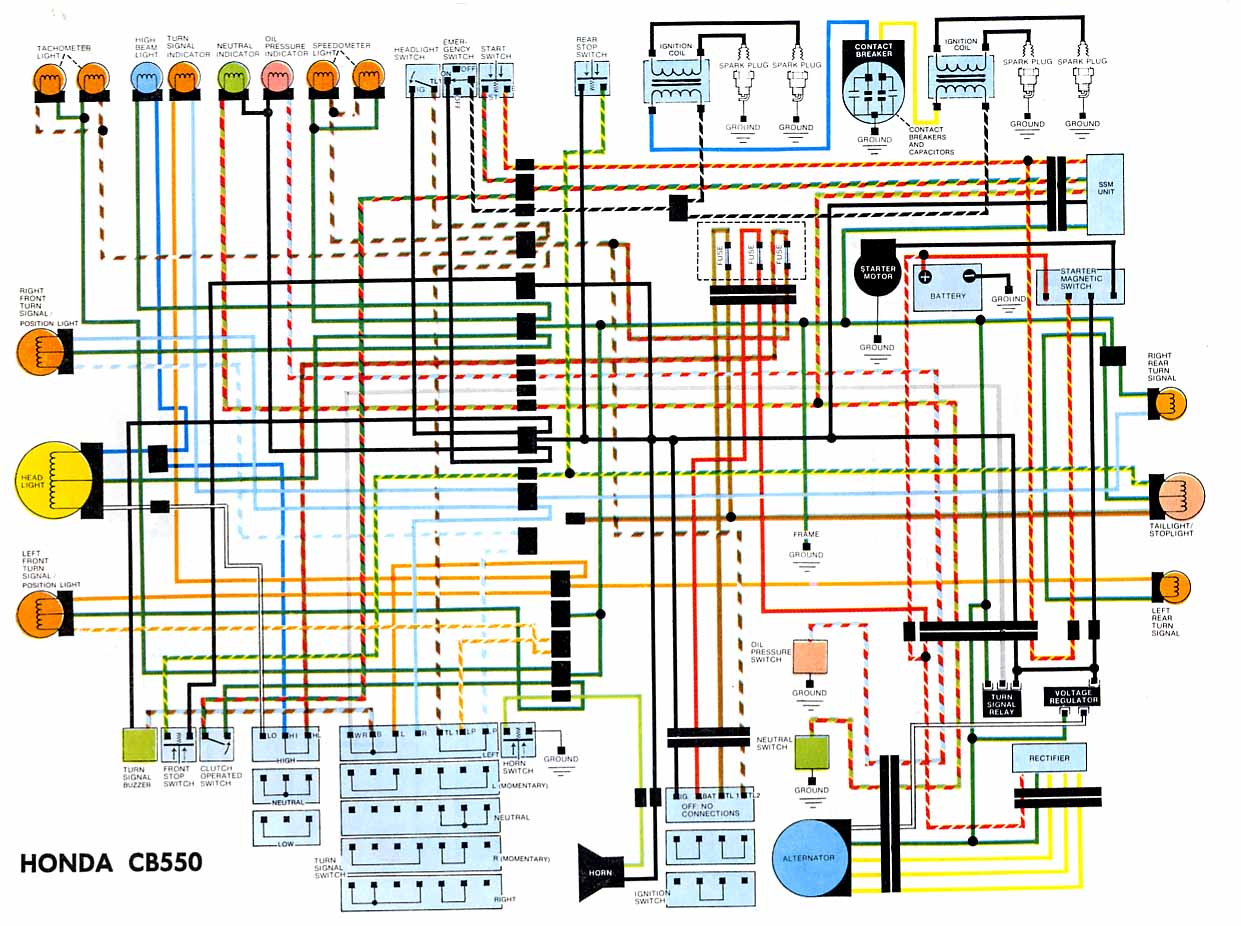 Honda CB550 Electrical Wiring Diagram motorcycle wiring diagrams electrical wiring diagram at soozxer.org