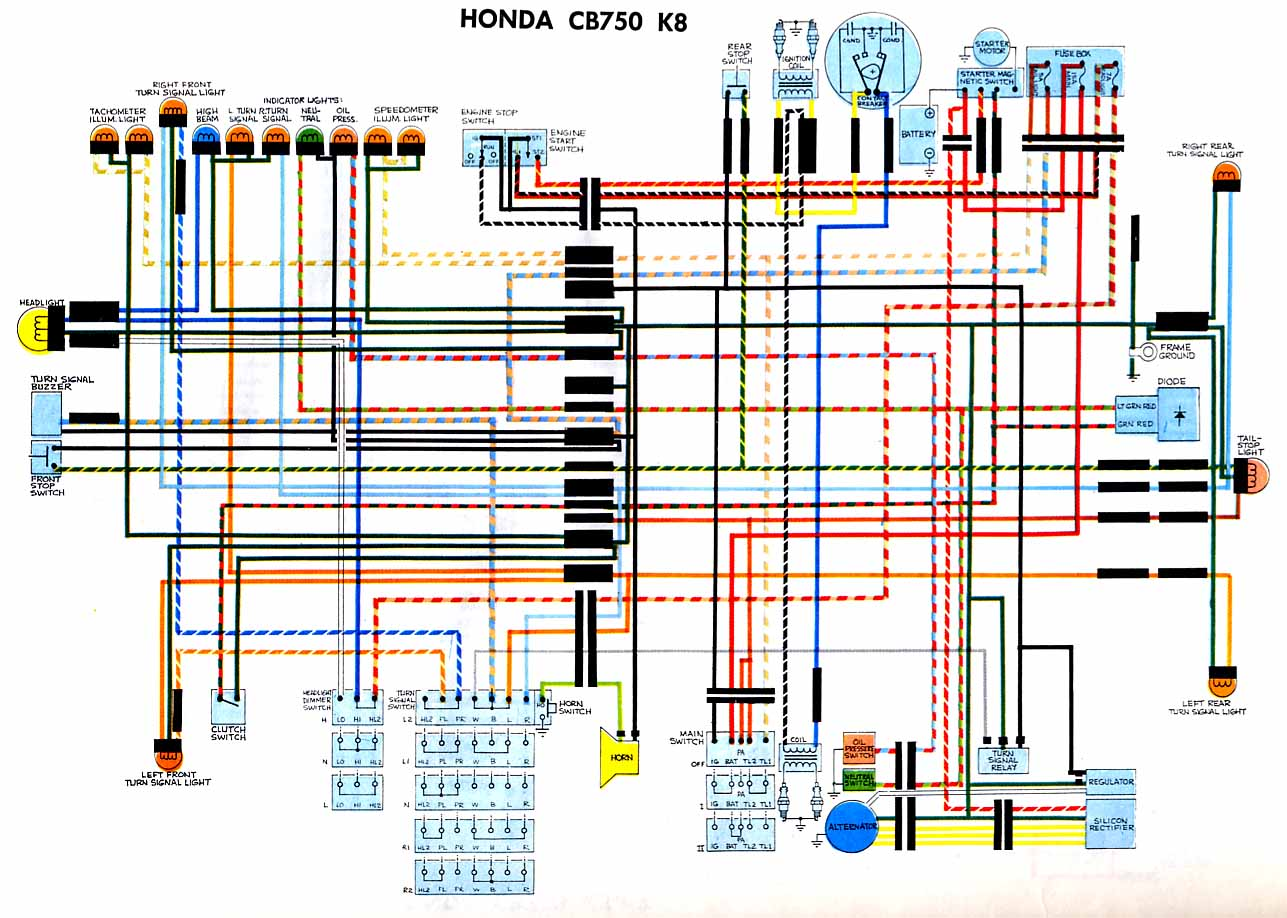 Honda CB750K8 Wiring diagram motorcycle wiring diagrams Honda Wiring Harness Diagram at edmiracle.co