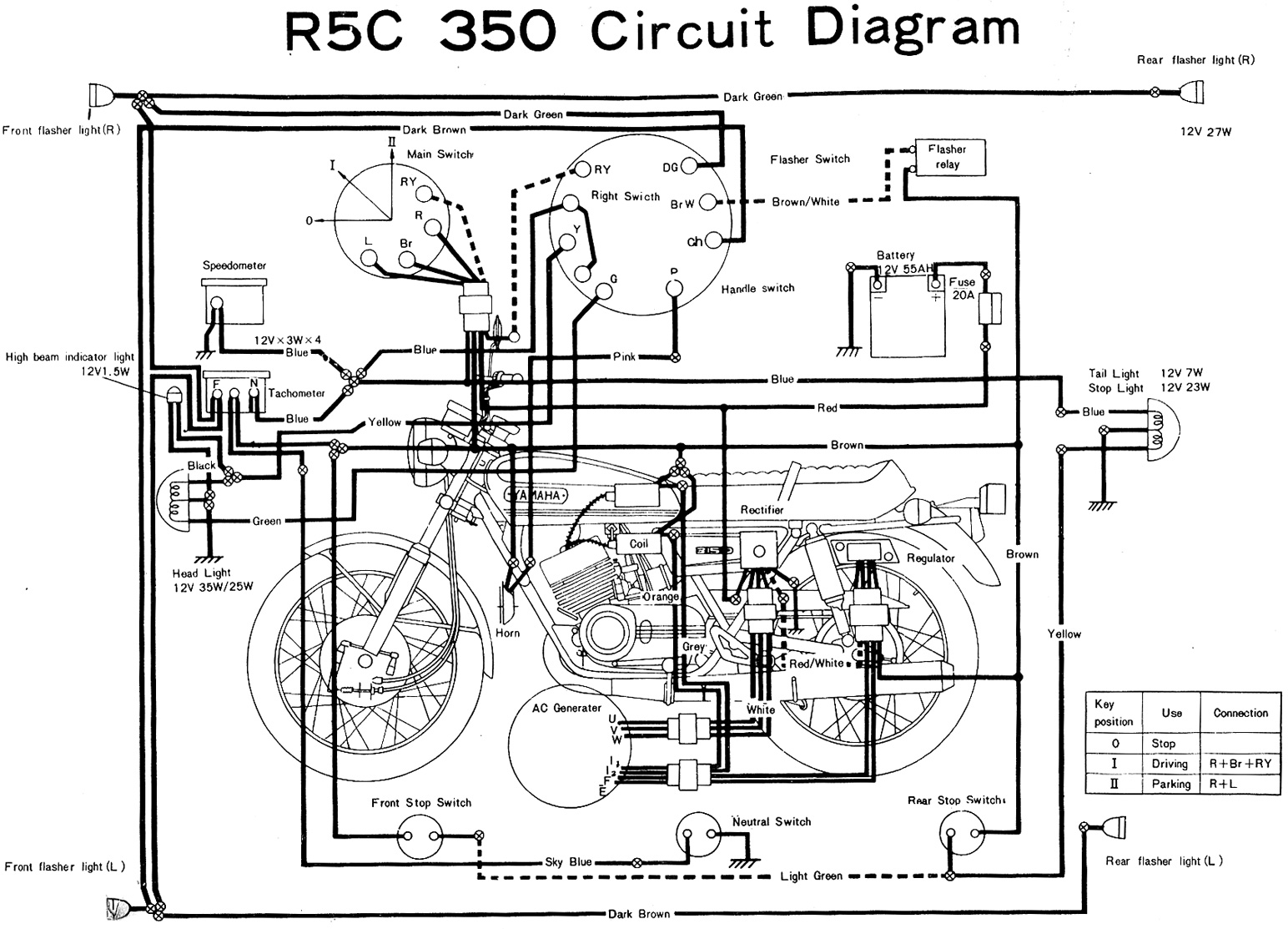 Yamaha R5C 350 Electrical Wiring Diagram1 motorcycle wiring diagrams